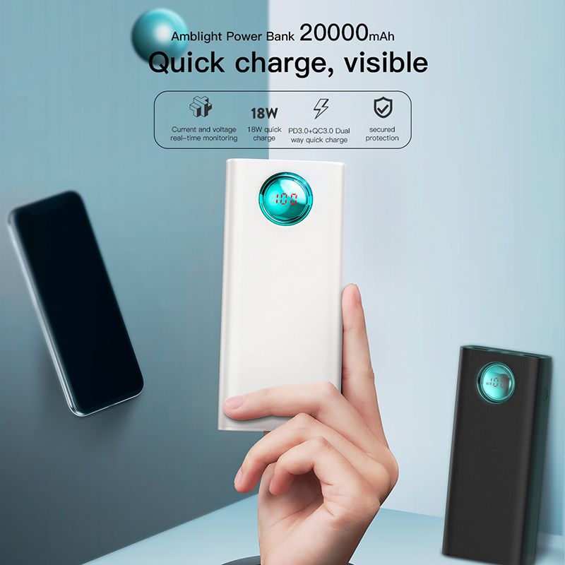 Baseus 20000 mAh batterie externe pour iPhone Samsung Huawei Type C PD Charge rapide + Charge rapide 3.0 USB Powerbank batterie externe