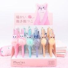 36pcs Creative Stationery Student Pen Cute Cat Plush Gel 0.5mm Full Needle Black Ink School Supplies Office