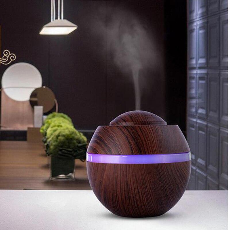 500 ml Aroma Difusor Óleo Essencial 7 USB Umidificador de Ar Ultra com Grão de Madeira Cor de Luz LED para Home Office