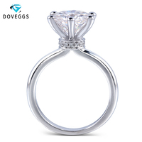 DovEggs Classic Solid 14K White Gold Ring Center 1ct 2ct 3ct 4ct Carat F Color Moissanite Diamond Engagement Ring For Women