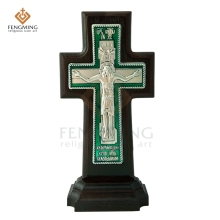 Высокое качество, ортодоксальный крест, дерево дуба, христианский металл, распятие на стол, религиозная икона, подарок на крестины