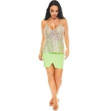 Sexy luxury summer Bling women Fashion diamond Metal tops beach nightclub Festival Party sequins Luxury Glittering Sling top New