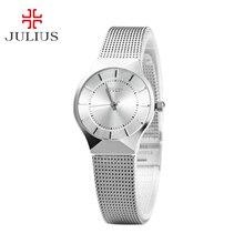 De la mujer señora Thin reloj de pulsera Julius cuarzo horas mejor vestido moda OL clásico pulsera amante del acero de niña regalo de cumpleaños JA-577