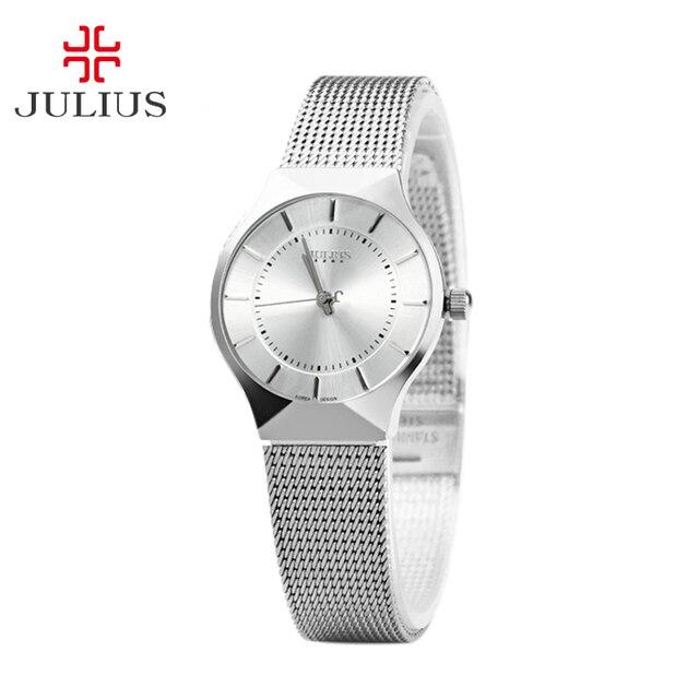 Women's Lady Thin Wrist Watch Julius Quartz Hours Best Fashion Dress Classic OL Bracelet Steel Lover's Girl Birthday Gift JA-577