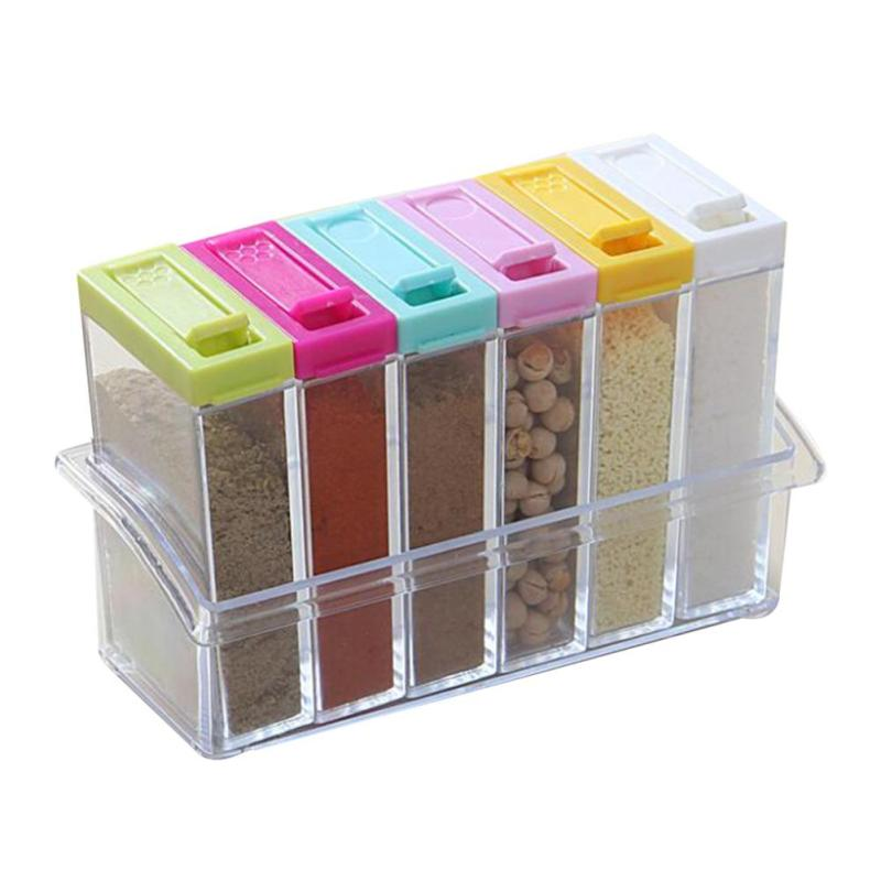6pcs/set Transparent plastic seasoning box salt flavor seasoning box Storage box Fashion kitchen supplies A20