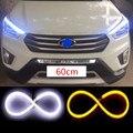 2x60 cm LEVOU Luz de Circulação Diurna Anjo Olho Mutável Turn Signal lâmpada de luz de Estacionamento Para Renault laguna megane logan 2 megane 2