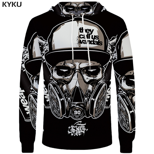 KYKU Skull Hoodie Men Black Military Hoodies Anime Clothes Punk Rock Metal 3d Print Sweatshirt Casual Mens Clothing Streetwear