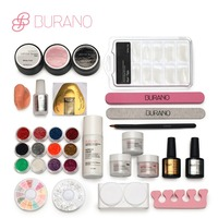 BURANO kit chiodo Acrilico Liquid Powder Brush Glitter Nail Tips Buffer Sticker File UV Gel Kit Strumenti Nail set di alimentazione 2907
