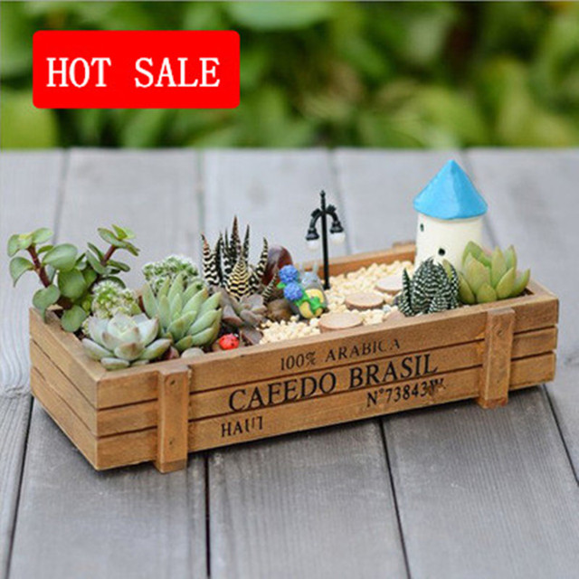 Wholesale Mini Succulent Plant Wooden Flowers Pots Gardening Vintage Wood  Garden Planter Home Decorative Desk Flower