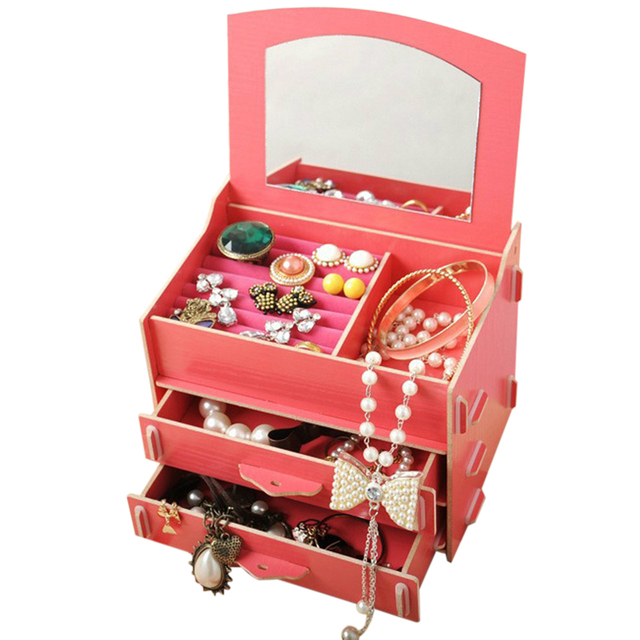 FUNIQUE 3 Layers DIY Wooden Storage Box Desk Makeup Cosmetic Box Drawers  Jewelry Storage Case Organizer