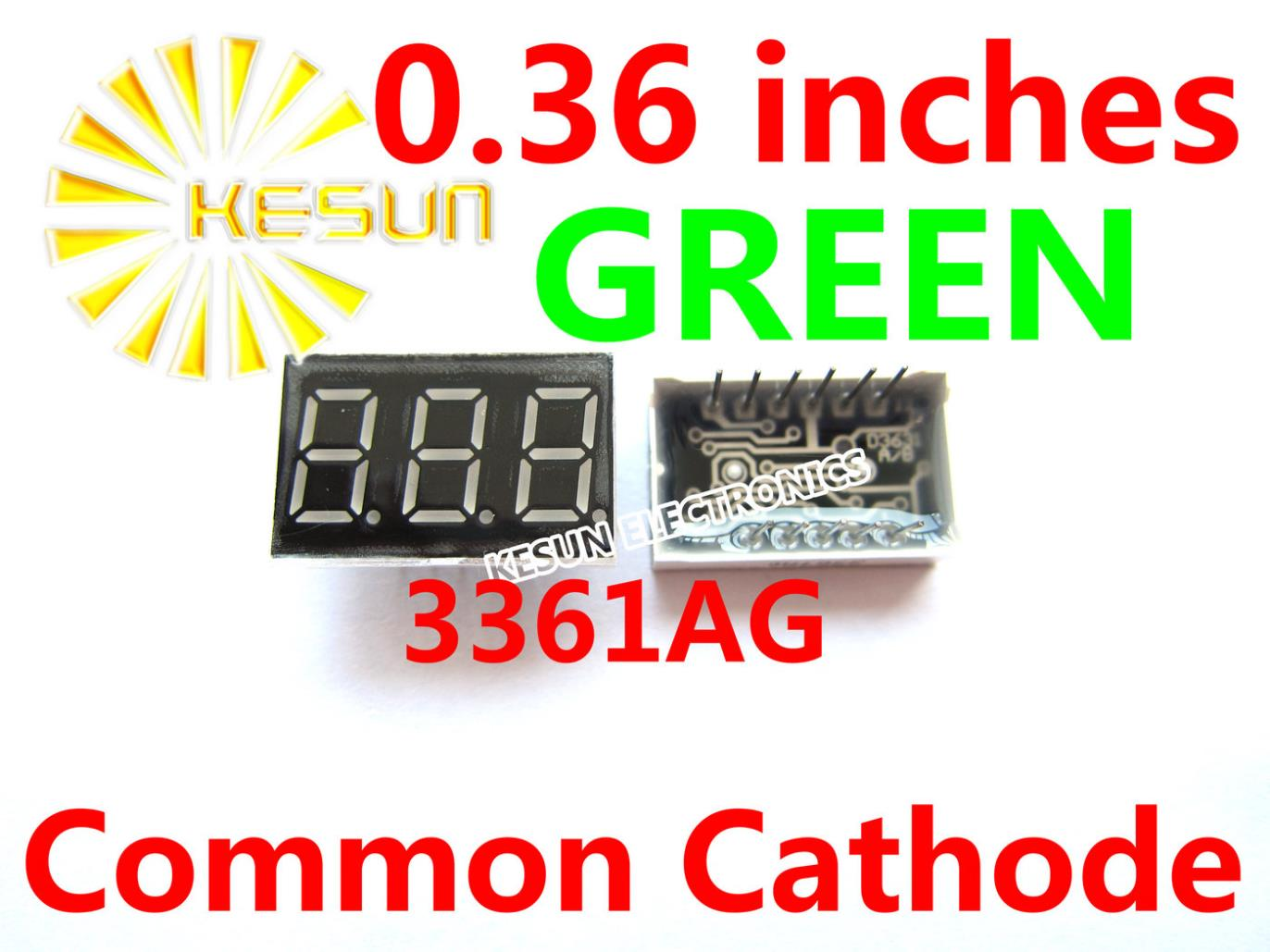 5PCS X 0.36 Inches Green Common Cathode/Anode 3 Digital Tube 3361BG 3361AG LED Display Module