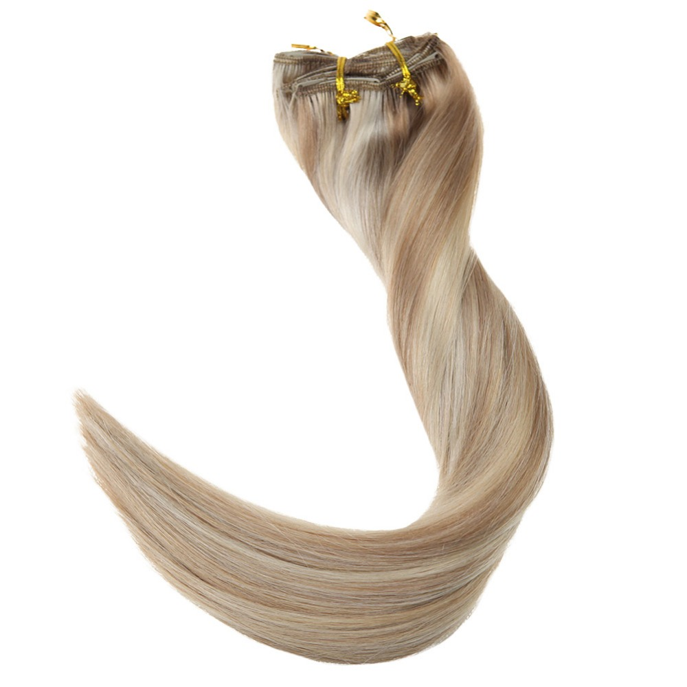Full Shine 9Pcs Double Weft Clip In Hair Extensions 100g Remy Human Extension Highlight Color #18/24/60 Blonde in