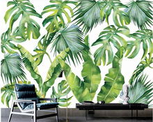 beibehang Nordic personality interior decoration wallpaper fashion Southeast Asia banana leaf decorative background wall paper