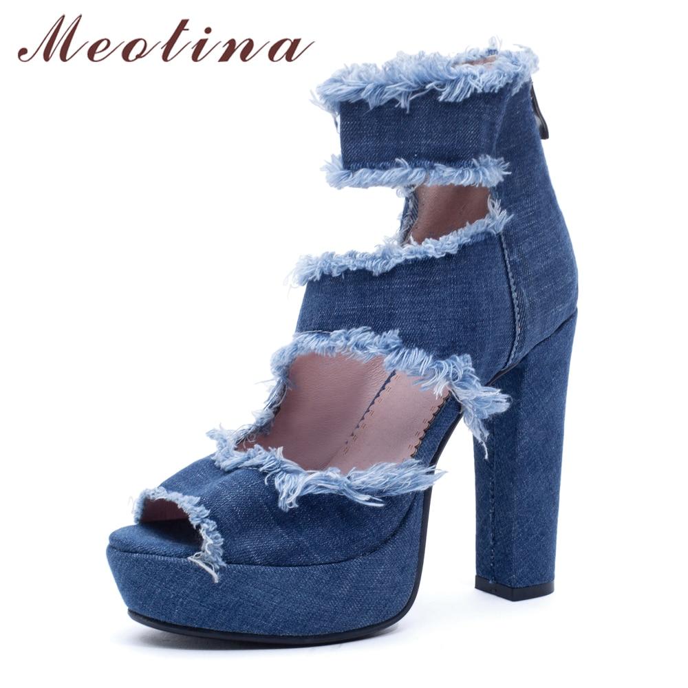 Meotina Women Sandals Shoes Summer Platform Square High Heel Shoes Zipper Peep Toe Ankle Wrap Sandals