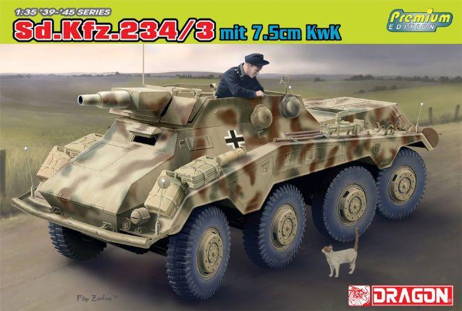 купить Dragon model 6786 1/35 scale Sd.Kfz.234/3 mit 7.5cm KwK по цене 2855.9 рублей