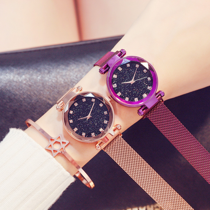 Rose Gold Women Watches Starry Sky Magnetic Buckle Luxury Ladies Clock Fashion Casual Waterproof Rhinestone Female Wrist Watches