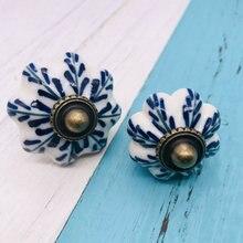 1 manija de muebles de porcelana blanca y azul manija de armario de cocina de estilo Vintage de China manija de la puerta del armario perilla de cajón de cerámica azul