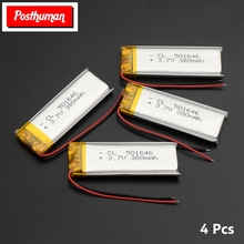 POSTHUMAN 3.7V 380mAh Li-polymer Battery 501646 Rechargeable Lithium Battery Suitable for Bluetooth Headset MP3 Batteries