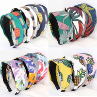 3pcs/lot Fruit Print Pineapple Hair Bands For Girls Colorful Oil Painting Large Leaves Wide Headbands Hair Accessories For Women