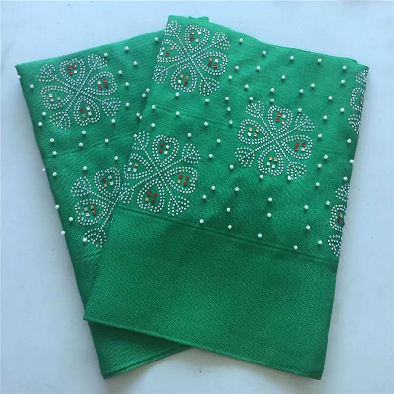 Nigeriano gele headtie aso oke headtie con perline e pietre smeraldo verde tessuto del merletto di alta qualità africano headties 2 pezzi/lotto-in Tessuto decorativo da Casa e giardino su  Gruppo 1