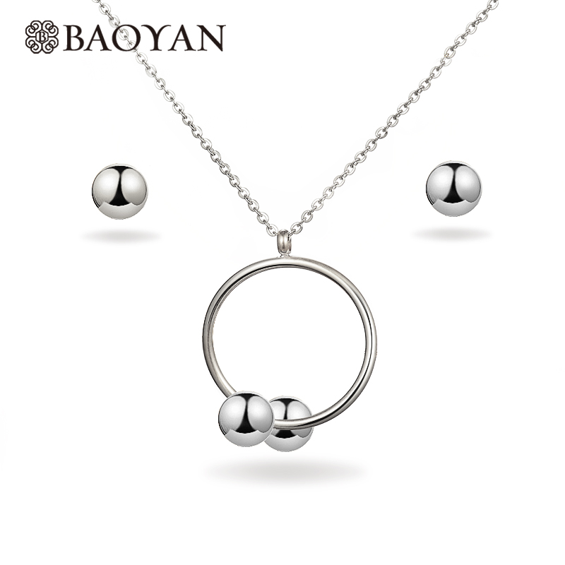 BAOYAN 316L Stainless Steel Jewelry Simple GOLD Silver Hoop Pendant Necklace Set with Earring Jewelry Set for Women Gift N1