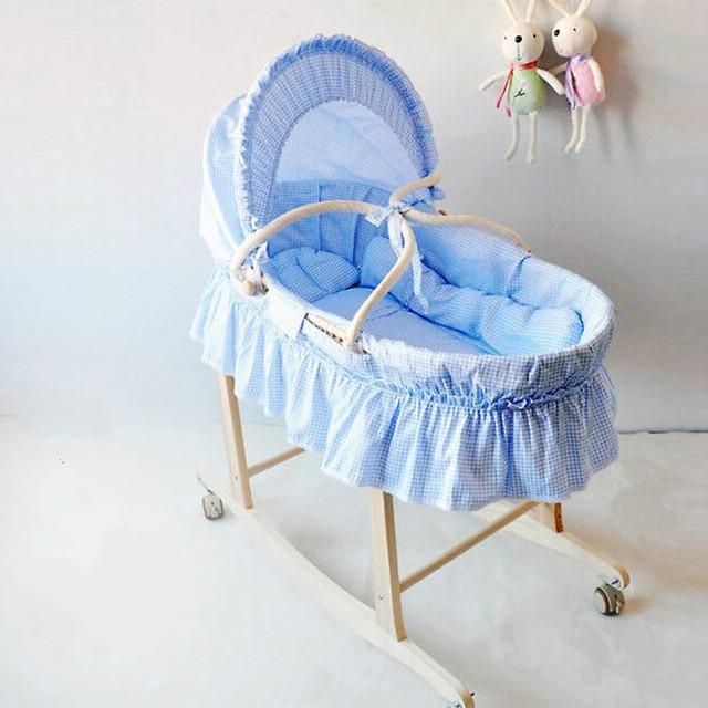 Новорожденных детская кроватка детская кроватка детская кроватка спать корзины волна портативный детская кроватка твердой древесины кровать шелуха кукурузы ребенка корзины
