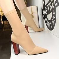 EOEODOIT/модные офисные женские носки; туфли-лодочки на высоком блочном каблуке; ботинки из лайкры с острым носком; обувь на квадратном каблуке ...