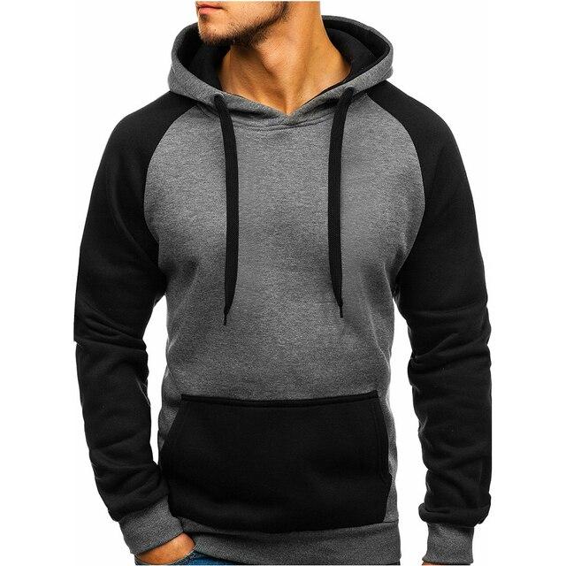2018 moda hombres marca Hip Hop hombres Sudadera Color sólido costura  chaquetas con capucha hombres Hoodies 33677a72b9f6