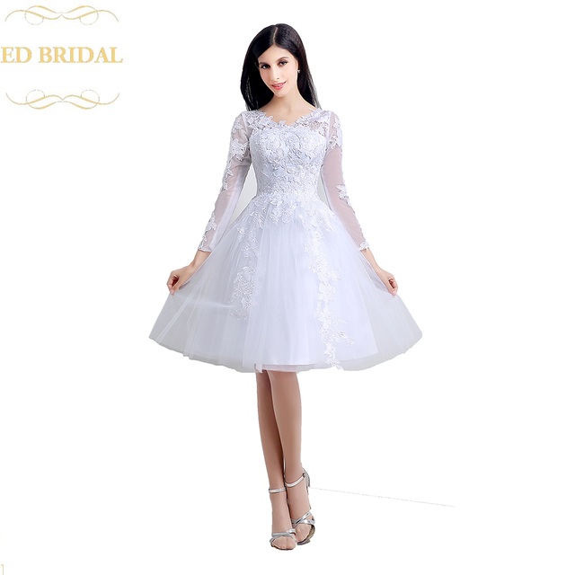 Long Sleeves Lace Tulle Short Wedding Dress Illusion Back Reception Bridal Gowns