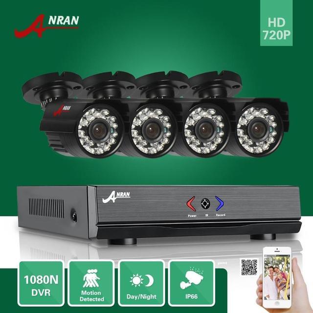 Anran 4ch hdmi 1080n 1800tvl ahd dvr hd día noche impermeable al aire libre ir-cut 24ir cctv cámara de vigilancia sistema de seguridad