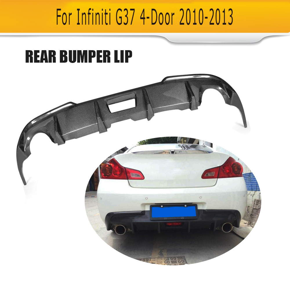 Carbon Fiber Car Rear Bumper Diffuser Lip Spoier for Infiniti G37 4 Door Base Sedan Sport 2009-2013 Car Rear Spoiler Black FRPCarbon Fiber Car Rear Bumper Diffuser Lip Spoier for Infiniti G37 4 Door Base Sedan Sport 2009-2013 Car Rear Spoiler Black FRP