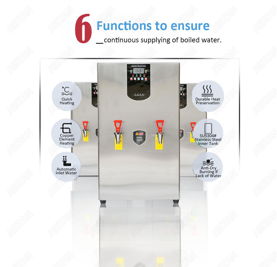 KW30L Commercial big drinking water boiler commercial stainless steel electric stepwise water boiler 30L 40L 60L 220V 4