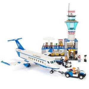 Image 3 - Городской международный аэропорт, 652 шт., авиационные строительные блоки, наборы кирпичей, модель, детские игрушки, совместимые с Lego
