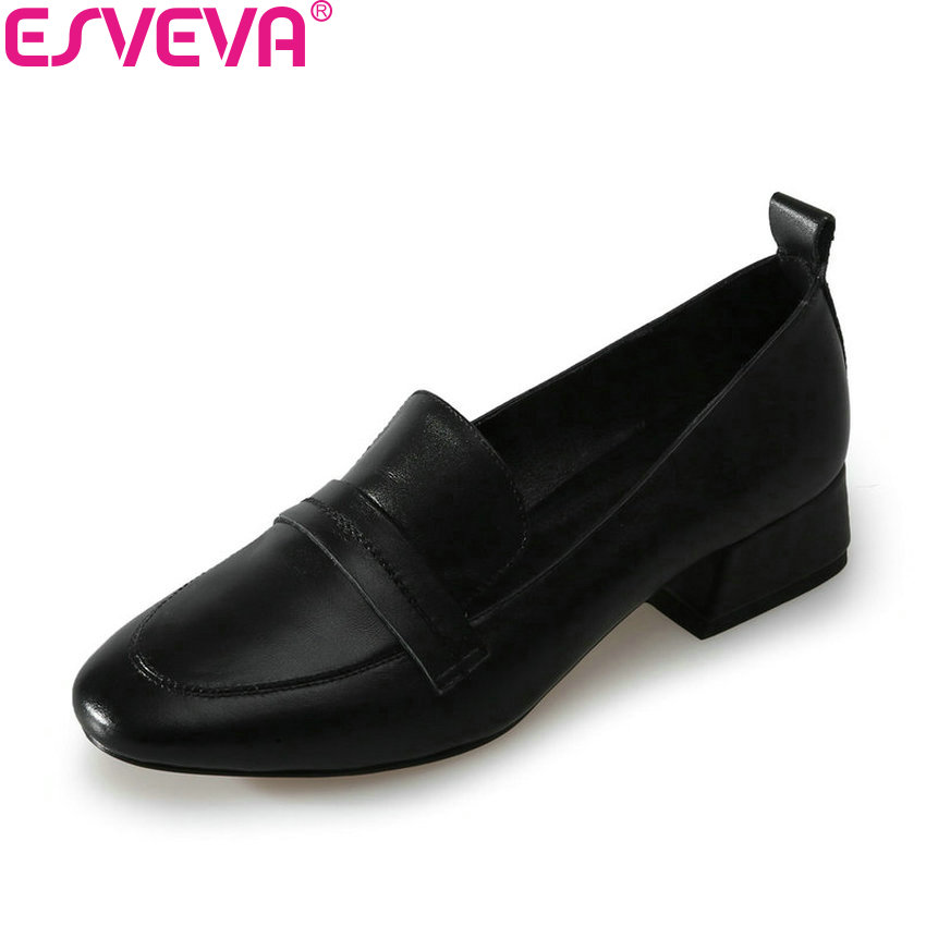 ESVEVA 2018 Women Pumps Western Style Square Heels Shoes Cow Leather PU Square Toe PU Slip on Med Heels Ladies Shoes Size 34-39 vallkin 2017 women pumps western style butterfly knot med heel pu kid suede pointed toe slingback ladies summer shoes size 34 39
