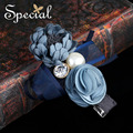 Special New Fashion Blue Rose Hair Pins and Clips Flower Hair Accessories Wedding Hair Jewelry Gifts for Women FS16121