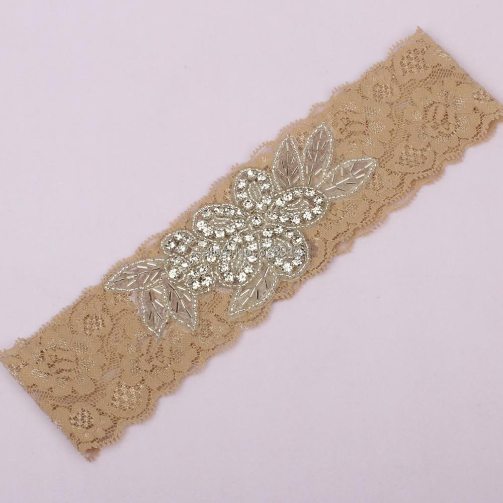Originální květinové kamínky nášivka černé krajky svatební podvazek vyrobený z krajky lemování ručně třída kvality Doprava zdarma