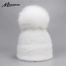 Повседневная однотонная Шапка-бини из меха кролика белого, черного, зеленого и красного цветов, женская шапка с натуральным лисьим мехом и помпонами, зимние теплые мягкие вязаные шапки