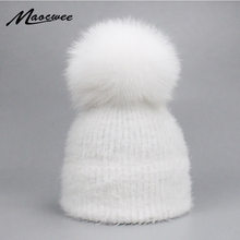 3bd39d6a43cc05 Casual Solid White Black Green Red Rabbit Fur Beanie Hat Female Real Fox  Fur Pom Pom Skullies Caps Winter Warm Soft Knitted Hat