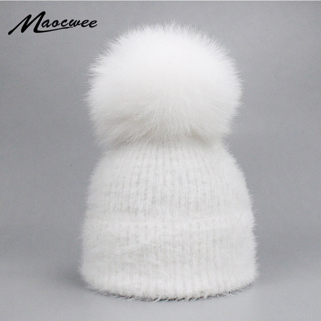 42d65ead2cf02 Casual Solid White Black Green Red Rabbit Fur Beanie Hat Female Real Fox Fur  Pom Pom Skullies Caps Winter Warm Soft Knitted Hat