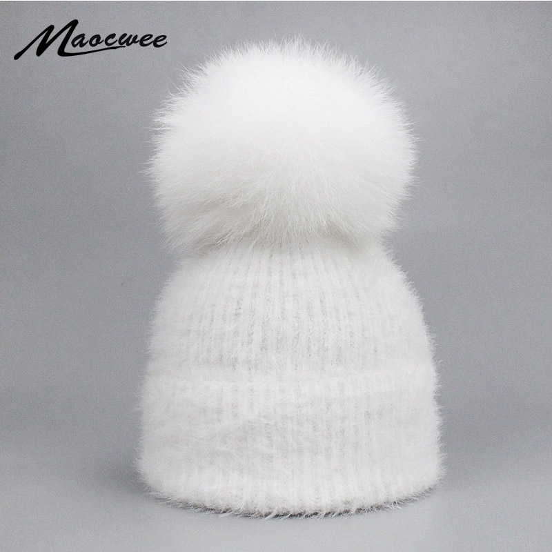 Casual Solid White Black Green Red Rabbit Fur   Beanie   Hat Female Real Fox Fur Pom Pom   Skullies   Caps Winter Warm Soft Knitted Hat