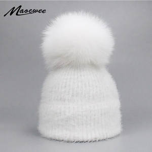 a529c603d37 MAOCWEE Beanie Female Pom Pom Caps Winter Warm Knitted Hat