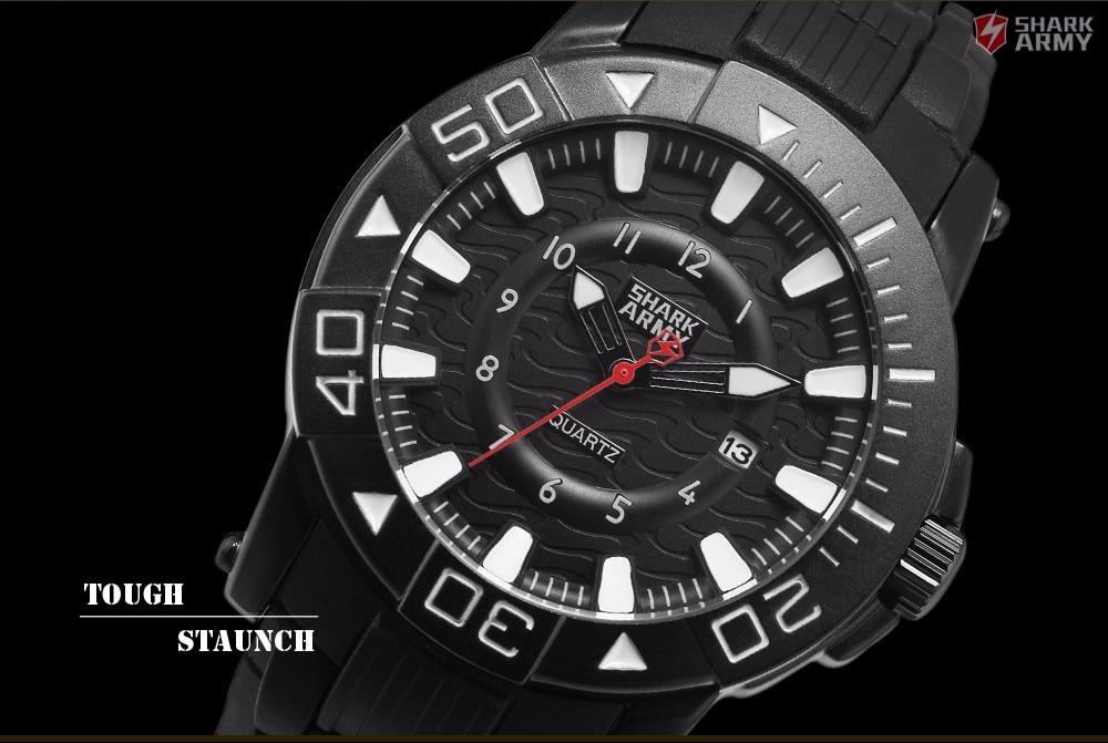 ฉลามกองทัพวูดูครั้งที่สองชุดสีดำสีขาวผู้ชายกีฬา12Hrsแสดงวันที่กันน้ำยางรัดควอตซ์ทหารนาฬิ... 3