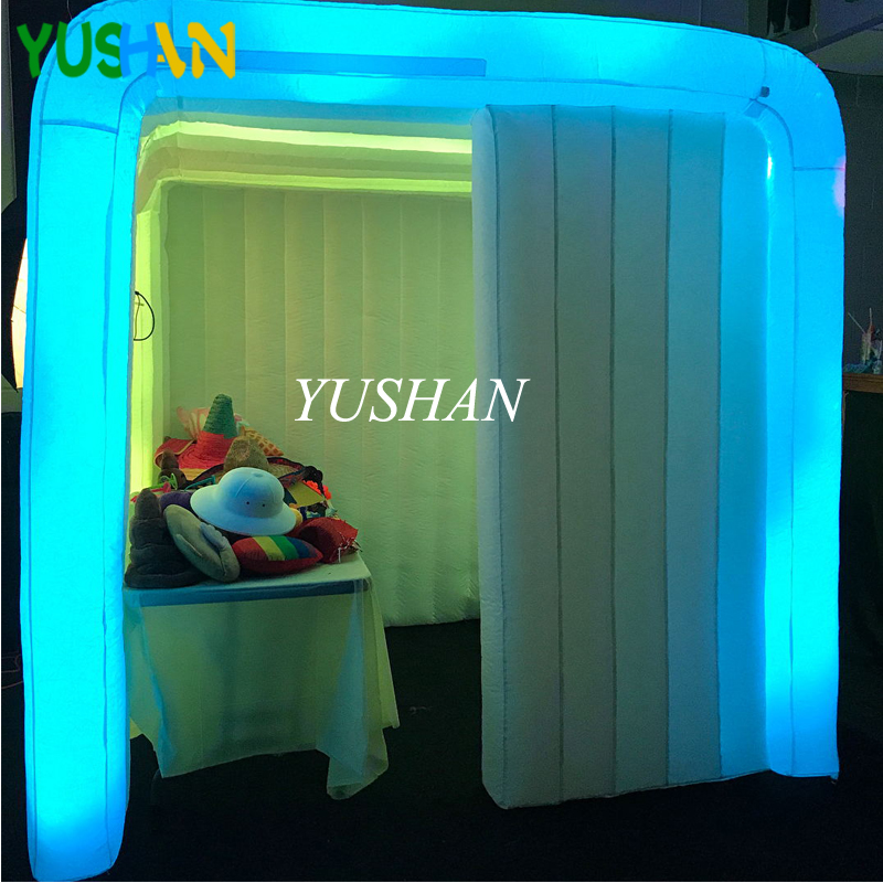 US $592 54 |2 5m Inflatable Portable Photo Booth Enclosure with 16 Colors  LED Changing Lights Photo booth backdrop stand for Wedding Parties-in Party