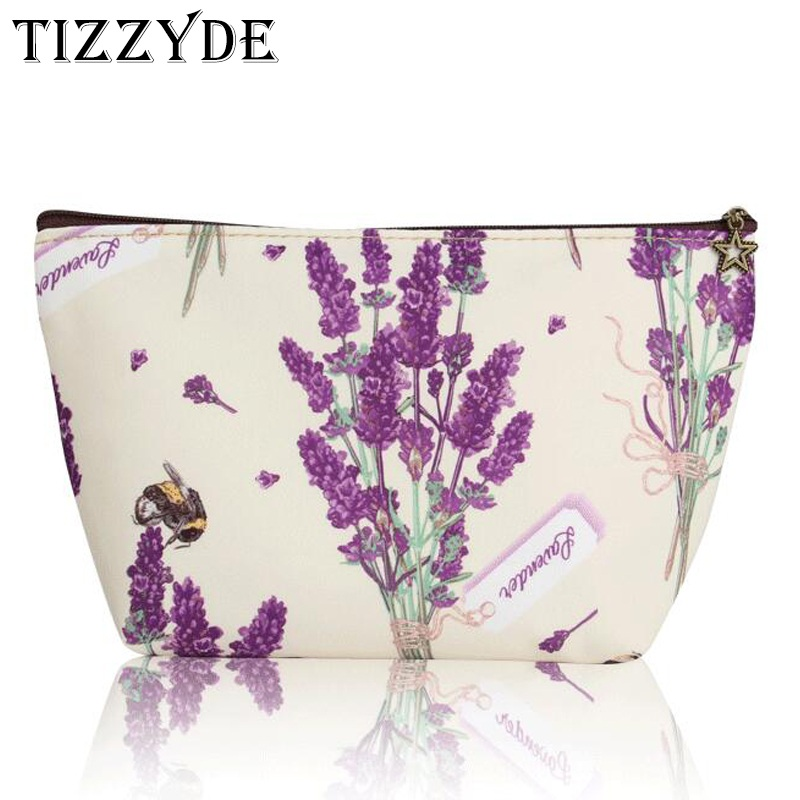 Lavender Flower Small Cosmetic Bag Nylon Waterproof Women