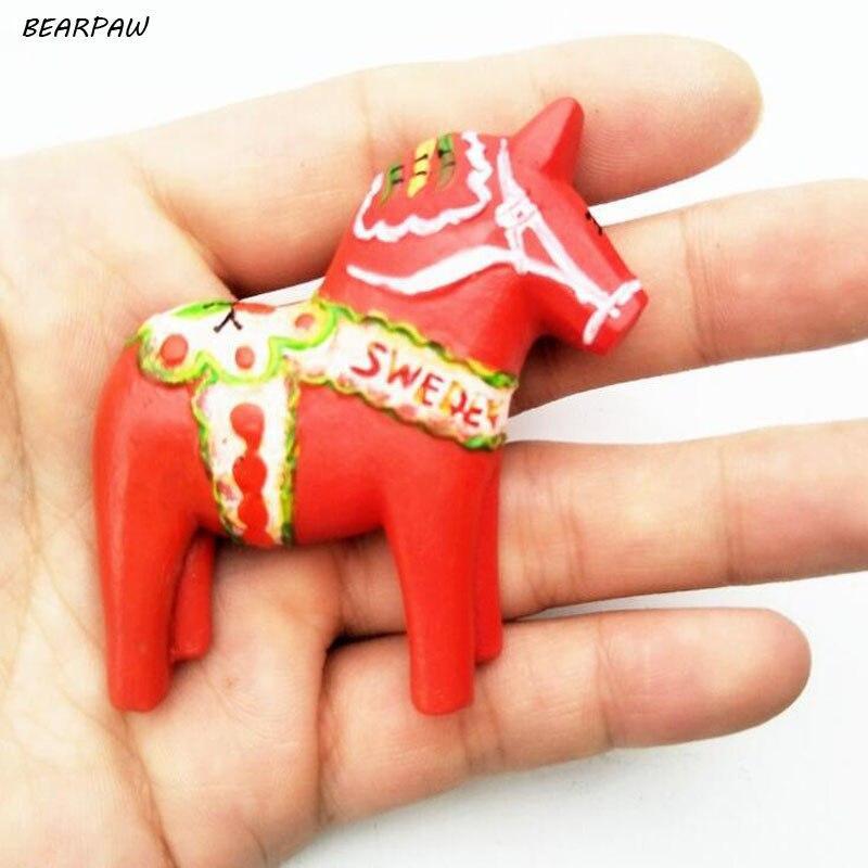 1 Teile/satz Kreative Nordeuropa Schweden Darla Trojans Kühlschrankmagnet Holz Pferd Handwerk Magnetischen Kühlschrank Aufkleber