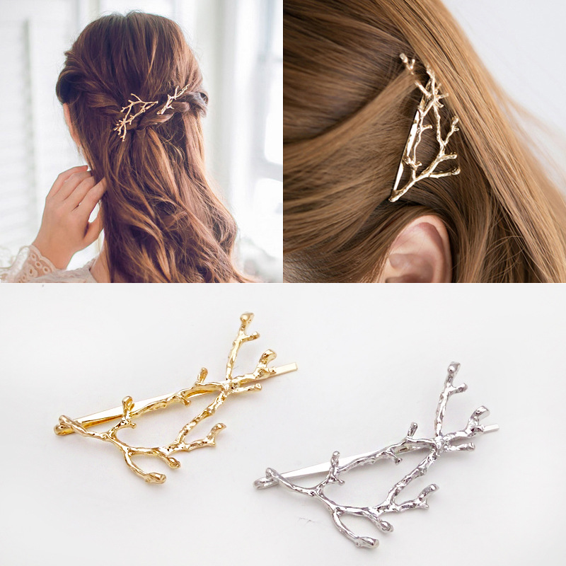 Fashion Women Girl Tree Leaf Casual Accessories Alloy Hairpins Side Creative Clips Hair Clip Solid Branches   Headwear
