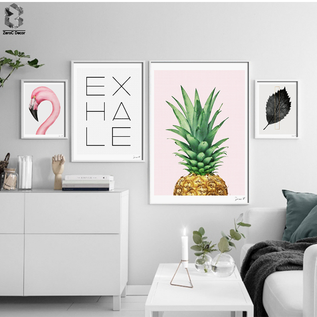 Nordic Flamingo Minimalist Canvas Art Print Poster, Quotes Wall Paintings  For Living Room Decor Pineapple