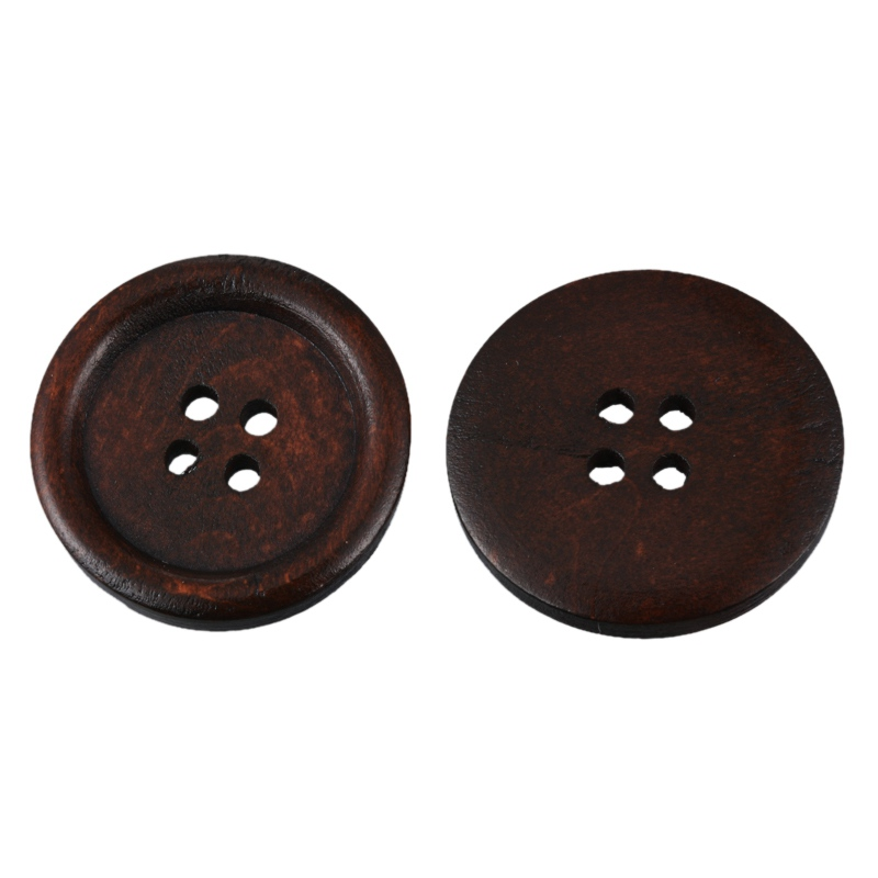 Hoomall 50PCs Brown Wooden Buttons 20mm/25mm Natural Color Sewing Buttons Scrapbooking & Craft 4 Holes
