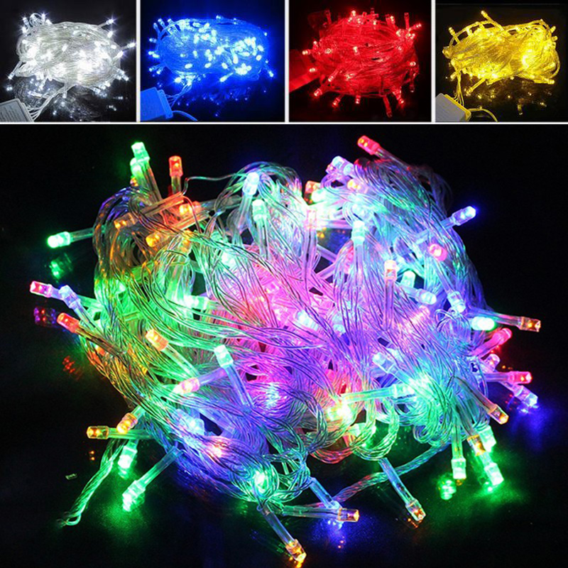 Holiday Outdoor String Lights 100 LED 10M Jul Bröllop Belysning Decorations Varm Vit RGB 220V 110V EU US Plug