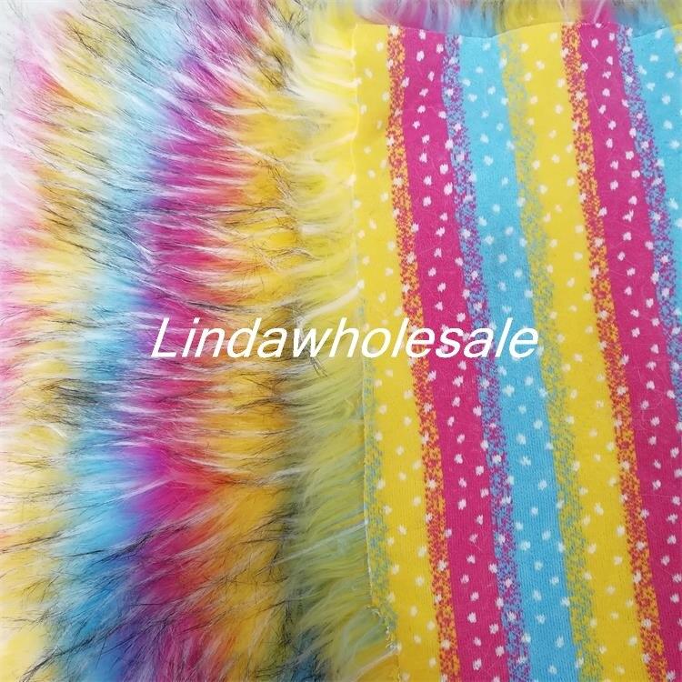 High grade faux fur fabric rainbow raccoon jacquard plush fabric felt cloth Clothing shoe material